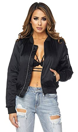 latest releases wide range boy Classic Puffy Satin Bomber Jacket in Black