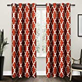 Cheap Exclusive Home Ironwork Sateen Woven Blackout Grommet Top Curtain Panel Pair, Mecca Orange, 52×108, 2 Piece
