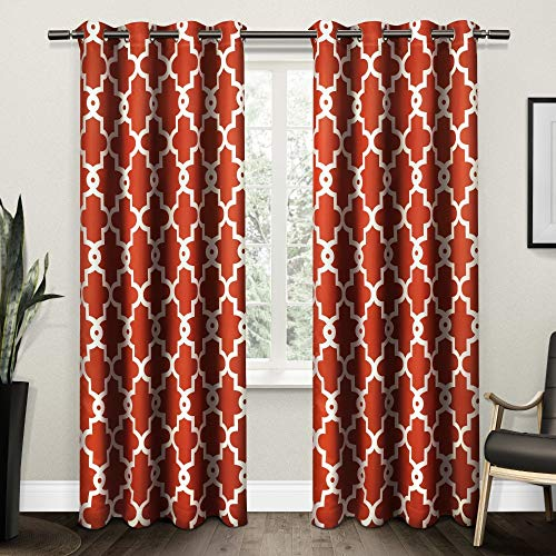 Exclusive Home Curtains Ironwork Sateen Woven Blackout Grommet Top Curtain Panel Pair, 52x108, Mecca Orange, 2 Piece (Made Panels Ready Drapery Silk)