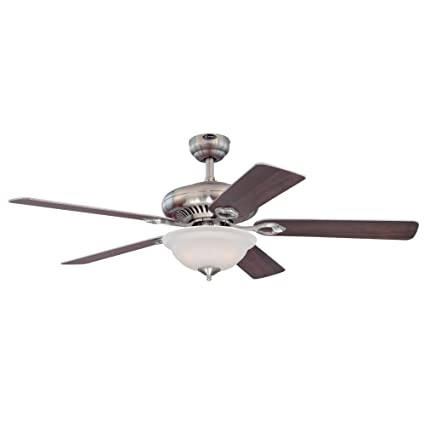 Westinghouse 7840000 Fairview Two-Light 52-Inch Reversible Five-Blade Indoor Ceiling Fan, Brushed Nickel with Frosted Glass Bowl - - Amazon.com