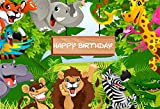 AOFOTO 7x5ft Cartoon Safari Animals Backdrop Happy Birthday Photography Background Fauna Jungle Wildlife Zoo Themed Party Decoration Photo Studio Props Toddler Girl Boy Child Kid Portrait Wallpaper