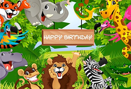 AOFOTO 7x5ft Cartoon Safari Animals Backdrop Happy Birthday Photography Background Fauna Jungle Wildlife Zoo Themed Party Decoration Photo Studio Props Toddler Girl Boy Child Kid Portrait Wallpaper ()