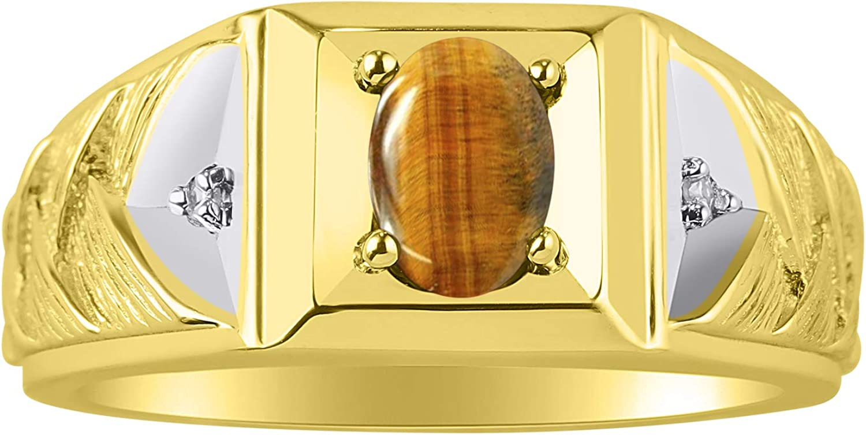Rylos Anillo de tejido con piedra preciosa ovalada y diamantes brillantes genuinos en oro amarillo de 14 quilates – 7 x 5 mm