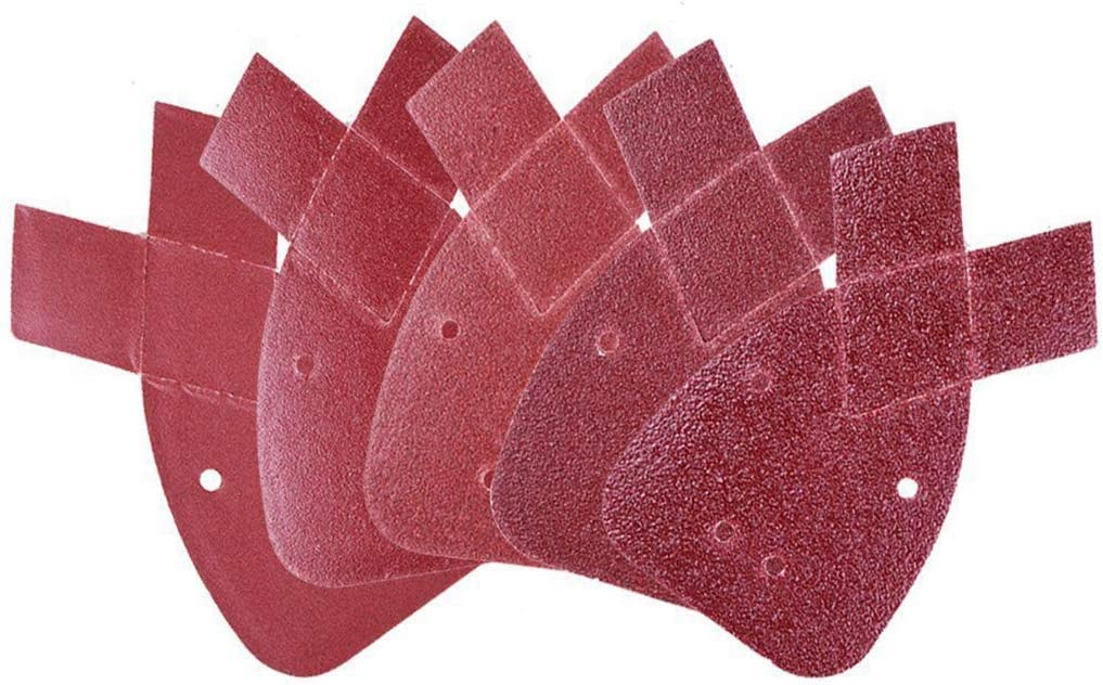 MJIKOO 50 pcs Mouse Detail Sanding Sheets Sandpaper with Extra 2 Tips for Replacement Hook and Loop Assorted 40//60// 80//120// 240 Grits,Red-brown