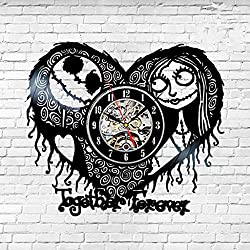 HCGZ Creative Quartz Art Clock, Vinyl Horror Heart-Shaped Wall Clock Battery Operated Silent Non-Ticking Record Clock Accurate Sweep Movement-Black 12inch(Diameter 30.5cm)