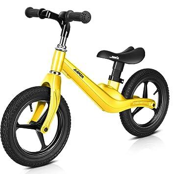 1-1 Bicicleta Infantil, Todo El Marco De Aleación De Magnesio Scooter De Dos Ruedas para Niños No Pedal Bicicleta De 12 Pulgadas,Yellow: Amazon.es: Deportes ...