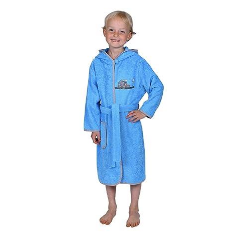 Betz albornoz con capucha con bordado Locomotora para niños color azul claro tallas 74/80