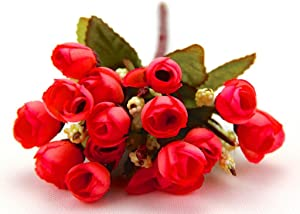 RayLineDo RED Color Small Rosebuds Bouquet of Roses Artificial Flowers Home Wall Party Decor Wedding Decal