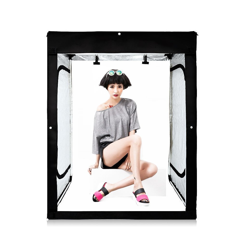 Professional 47''x32''x63'' Large Photo Studio Lightbox Shooting Tent Cube Box Kit with 3 Colors PVC Backdrops in Carry Bag