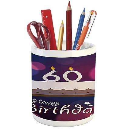 Pencil Pen Holder60th Birthday DecorationsPrinted Ceramic Holder For Desk Office