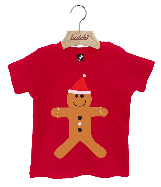 Batch1 Cute Gingerbread Man Festive Christmas Popper Neck Baby Xmas T-Shirt