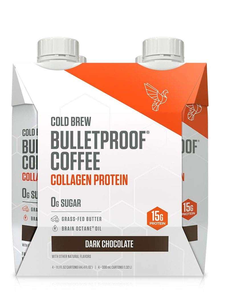 Bulletproof Cold Brew Coffee Plus Collagen, Keto Friendly, Sugar Free, with Brain Octane oil and Grass-fed Butter, (Dark Chocolate) (4 Pack)