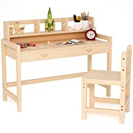 Tribesigns Unfinished Kids Study Desk and Chair Set with Hutch, 47'' Height Adjustable Solid Wood Writing Student Desk for Child, Great for Kid's Bedroom or Any Small Space
