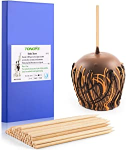 "TONGYE 6"" Natural Bamboo Skewers, Thick Bamboo Sticks for Caramel Candy Apple, Hot Dog, Corn Cob, Cookie, Lollipop, Chocolate Fountain (Φ 5MM, 50 PCS)"