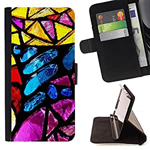 DEVIL CASE - FOR Apple Iphone 5C - Stained Glass Yellow Blue Sun Colorful - Style PU Leather Case Wallet Flip Stand Flap Closure Cover