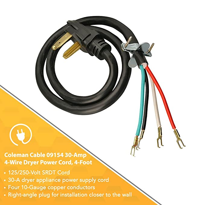 Coleman Cable 4-Wire Dryer Power Cord (30-Amp, 4 Ft) - Replacement ...