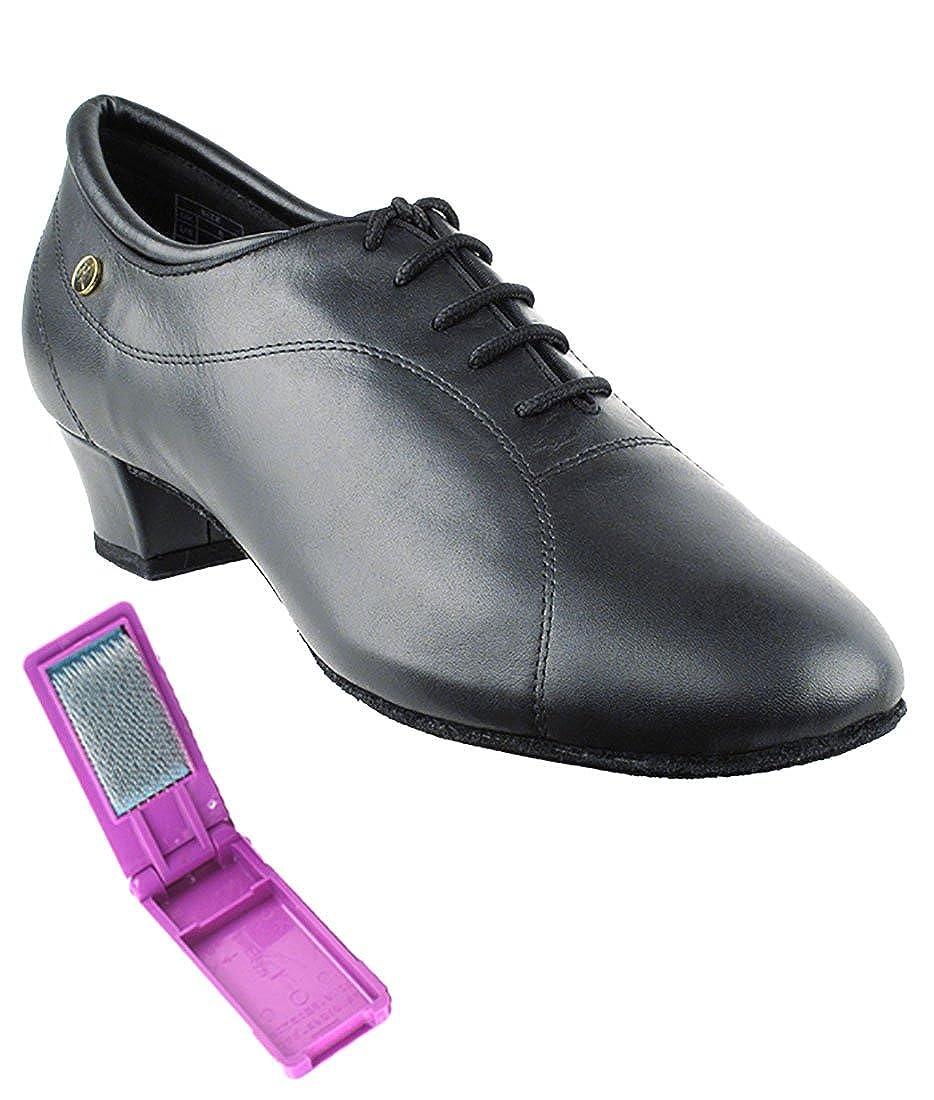 Very Fine Ballroom Latin Tango Salsa Dance Shoes for Men CD9326DB 1.5 Inch Heel + Foldable Brush Bundle B01N9XB9B7 10 D(M) US