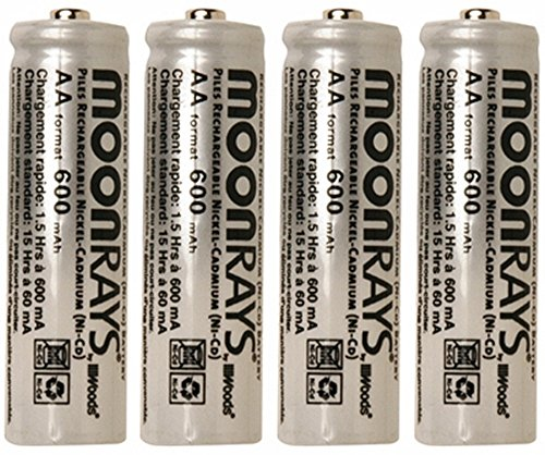 Moonrays 97125 6 Pack Rechargeable NiCd AA Batteries for Solar-Powered Lights, 4 Pieces per Pack