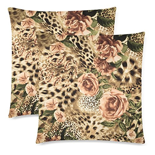 InterestPrint 2 Pack Striped Leopard Animal Print Valentine's Day Pillow Case Cover 18x18 Twin Sides, Flower Zippered Throw Cushion Pillowcase Protector Set Decorative for Couch Bed (Print Decorative Leopard Pillows)