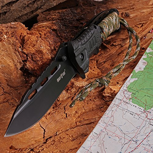 Grand Way Survival Camping Knife with fire Starter - Tactical Outdoor Knife with Paracord Handle - Best 440c Stainless Steel Spring Assisted Hiking Knife for Army Military Emergency 6772 by Grand Way (Image #6)