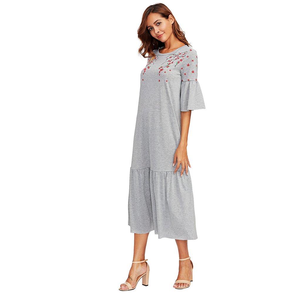 878497ba8fd ROMWE Femme Robe Longue Manche Courte Col Rond épaule Fleur Casual Gris   Amazon.fr  Vêtements et accessoires