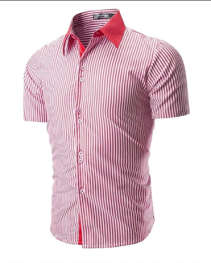 CYJ-shiba Mens Stripe Breathable Slim Fashion Short Sleeve Button Down Shirts