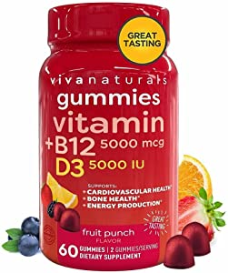 Vitamin B12 5000mcg and Vitamin D3 5000 IU Gummies, 60 Count   Delicious Fruit Punch Flavor, Vitamin D and Methyl B12 Vitamins for Energy and Immune Support