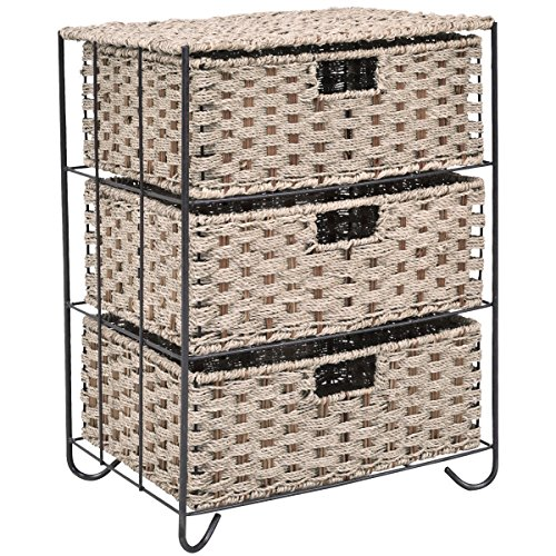 Round Table End Cabinet (Giantex Storage Organizer End Table Nightstand with 3 Sea Grass Baskets Metal Frame Drawer Shelf Storage Cabinet for Home Bathroom, Bedroom, Living Room and Office)