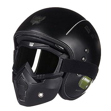 MERRYHE Casco De Moto De Fibra De Vidrio Unisex Moto Moto Casque Casco De Gama Alta Chopper Cara Abierta Cascos Con Capata Capacete Con Máscara: Amazon.es: ...