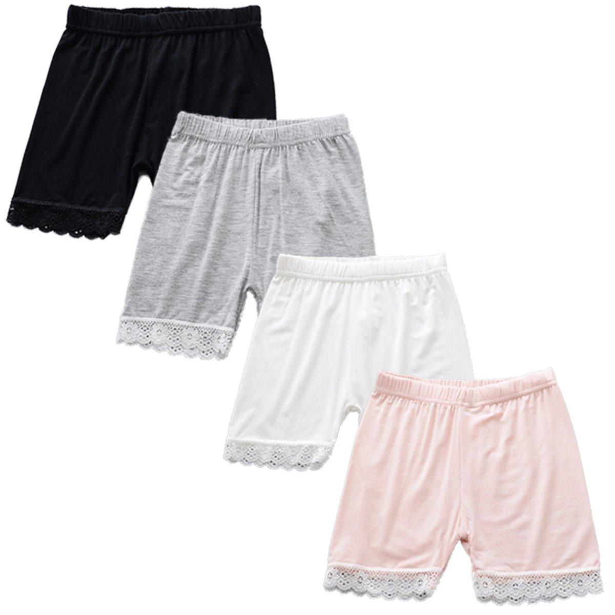 JELEUON 4Pcs Little Girls Kids Lace Trim Slim Elastic Safety Short Panties 7-8Y