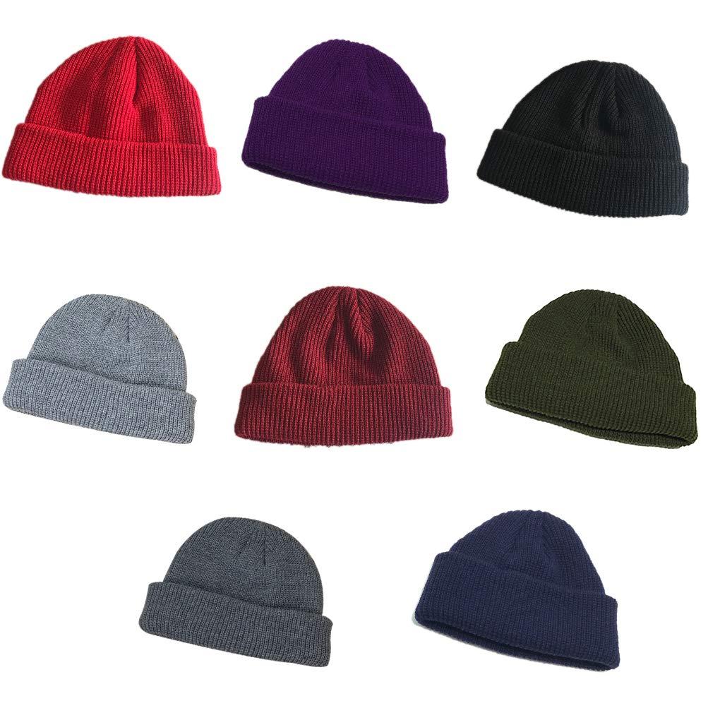 Beaums Adulto Uomini lavorato a maglia Papalina Hip Hop Breve Skullcap Beanie allaperto sci Retro Warm Beanie Hat