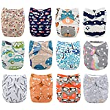 Babygoal Baby Cloth Diapers,One Size Adjustable Reusable Pocket Cloth Diaper 12pcs Diapers+12pcs Microfiber Inserts+One Wet Bag+4pcs Baby Wipes 12FN51-1