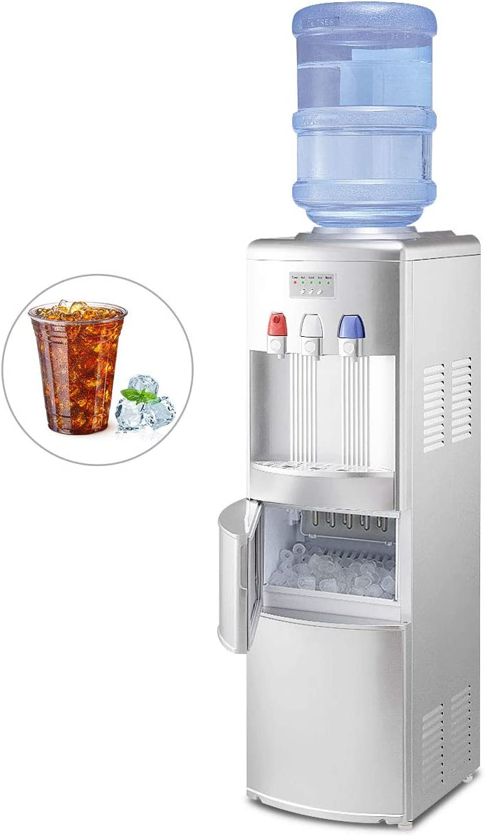 GOFLAME 2 In 1 Water Cooler Dispenser with Built-in Ice Maker Machine, 3 to 5 Gallon Hot and Cold Top Loading Water Dispenser with Easy-to-Operate Control Panel, Child Safety Lock, Removable Drip Tray and Barrel Seat, Silver
