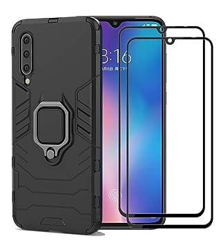 XIFAN Funda para Xiaomi Mi 9 SE, [Robusto] Anillo Metálico Soporte [Funciona con El Montaje De Coche Magnético] Case Carcasa, Negro + 2 Piezas ...
