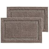 mDesign Soft Microfiber Polyester Non-Slip Rectangular Spa Mat, Plush Water Absorbent Accent Rug for Bathroom Vanity, Bathtub/Shower, Machine Washable - 34' x 21' - Pack of 2, Taupe
