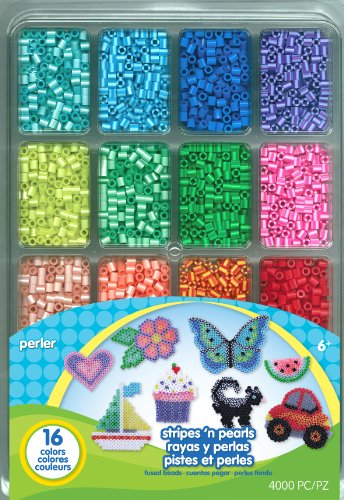 Perler Beads Stripes And Pearls Assorted Fuse Beads Tray For Kids Crafts, 4000 pcs -
