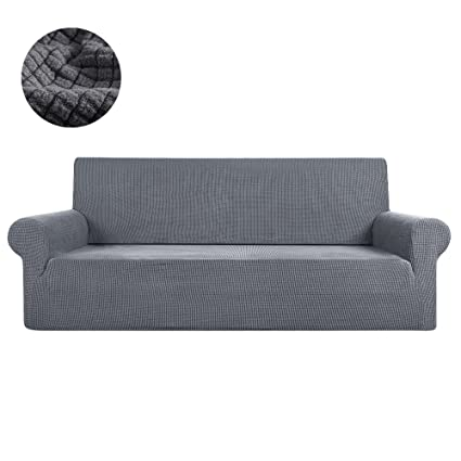 FlowersSea Fundas de sofá de Esquina de 1/2/3 plazas, de fácil Ajuste, de poliéster, Elastano, elástico, Funda de sofá, Gris, 2seat