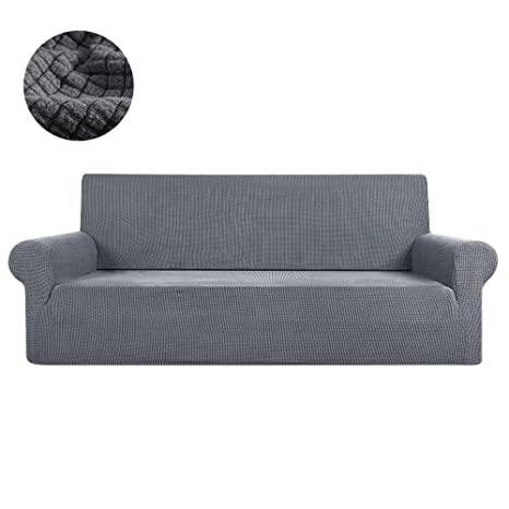 FlowersSea Fundas de sofá de Esquina de 1/2/3 plazas, de fácil Ajuste, de poliéster, Elastano, elástico, Funda de sofá, Gris, 4seat