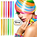 Color Hair Extensions, Ezire 23 Inches 12-Color Party Highlights Clip on in Hair Extensions 12 PCs Colorful Straight Hairpieces
