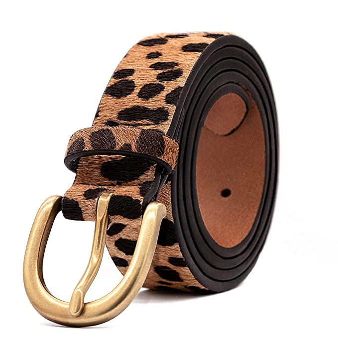 Womens Leopard Print Leather Belt for Jeans With Alloy Buckle