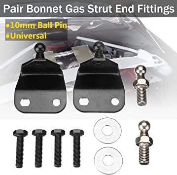 2 x M8 Thread 10mm Ball Joint Studs Pins to fit Gas Strut End Fittings Black