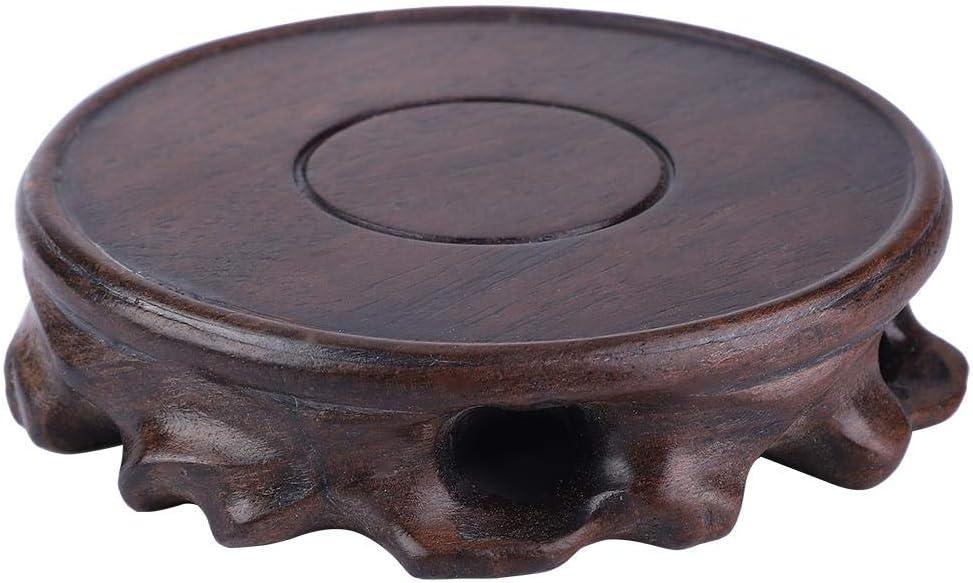 #1 Base en verre de bonsa/ï de vase de th/éi/ère pratique de pr/ésentoirs en bois pour la d/écoration de bureau /à la maison