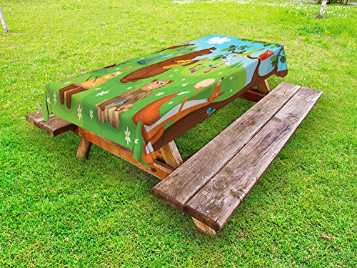 Ambesonne Hedgehog Outdoor Tablecloth, Open Air Concert in Forest Instrument Playing Bear Rabbit Fox and Tweeting Bird, Decorative Washable Picnic Table Cloth, 58 X 84 Inches, Multicolor (Air Open Concert)