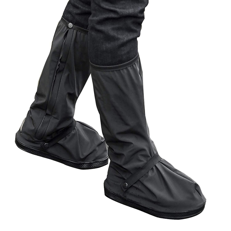 Couvre-chaussures imperméables - Couvre-chaussures de pluie Fermetures à glissière réutilisables antidérapantes Couvre-bottes Femmes Cycle de sport en plein air Tempête de pluie Tempête de neige(XL) Txyk
