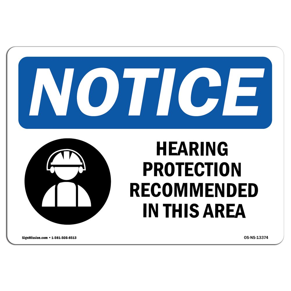 Amazon Osha Notice Sign Hearing Protection Recommended Sign