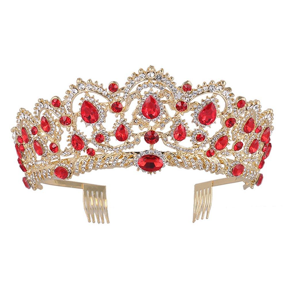 Regina Corona, Vintage fascia strass cristallo corona, nozze Prom diademi per donna ragazza (Rosso) Frcolor