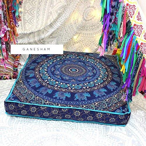 GANESHAM - Manta Decorativa India Mandala Cama para Perro, Mandala Boho decoración, Hecha a Mano Mandala Piso Pouf otomana...