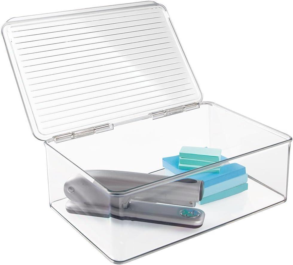 mDesign Organizador de Escritorio – Cajas de plástico Multiuso – Cajones de plástico con Tapa rebatible para Escritorio – Ideal para lápices, anotadores y Otros artículos de Oficina – Transparente