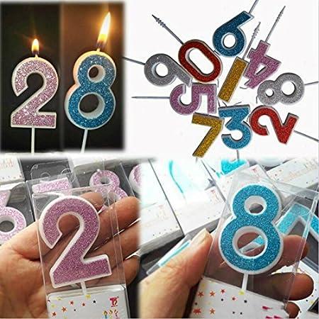 Tyro Número Velas de cumpleaños 1 2 3 4 5 6 7 8 9 0 Oro ...