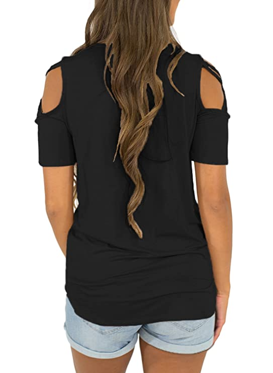 49e592868d33 AlvaQ Women Summer Short Sleeve Strappy Cold Shoulder T-Shirt Tops Blouses  (S-XXL) at Amazon Women s Clothing store